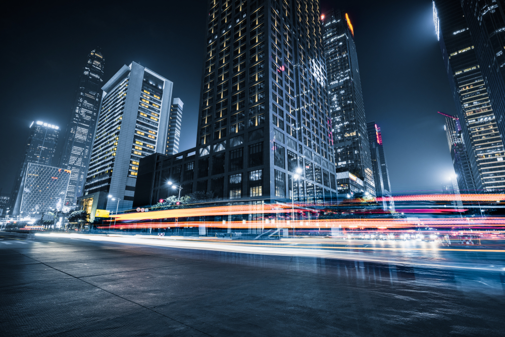 Buildings with light trails